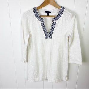 Lands End Off White 3/4 Sleeve Tunic Top Small